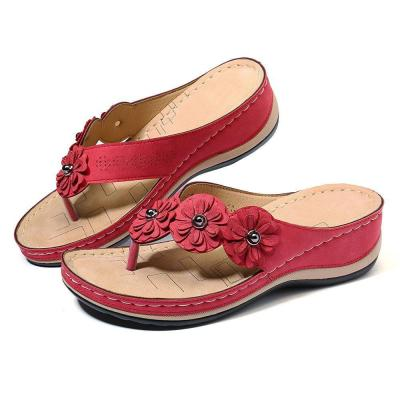 Fashion Wild Retro Flower Platform Wedge Slippers