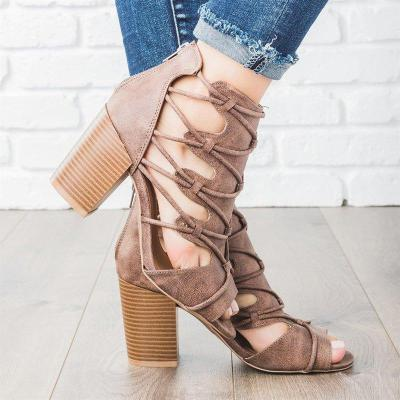 Women Dress Summer Crisscross Lace-Up High Chunky Sandals