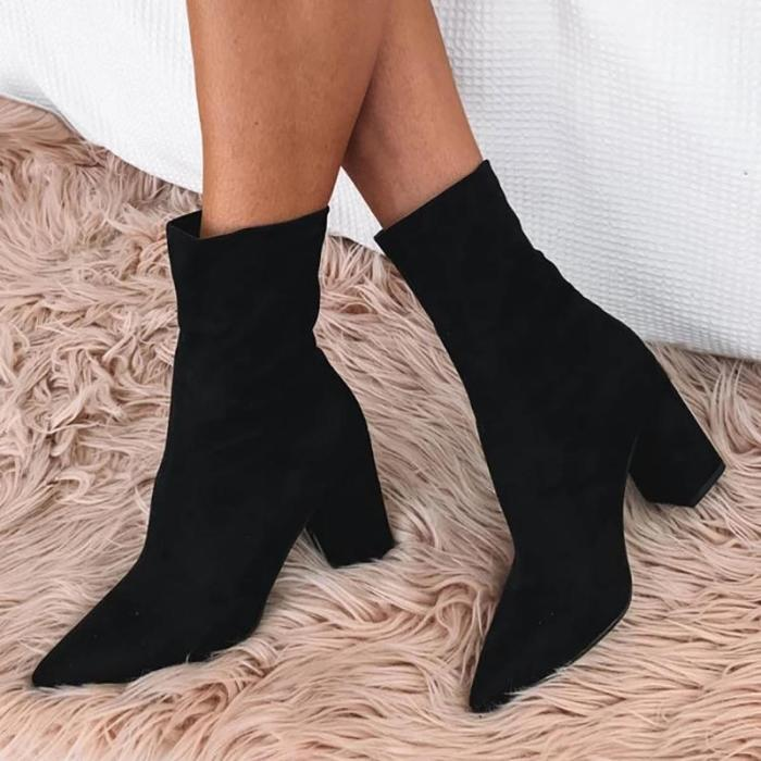 Brief High Heel Chunky Solid Color Pointed Boots