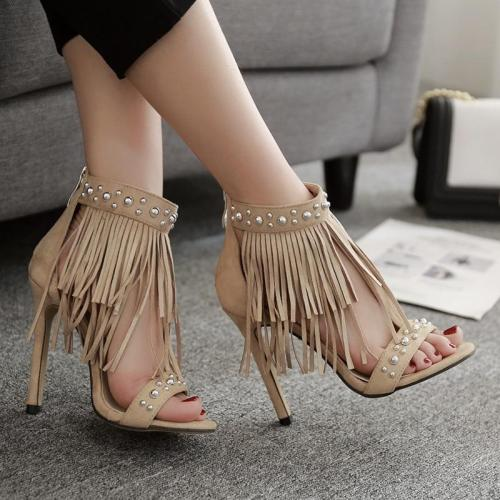 Summer Women's Shoes Fringes High Heels Willows Nail Sapricot Toes