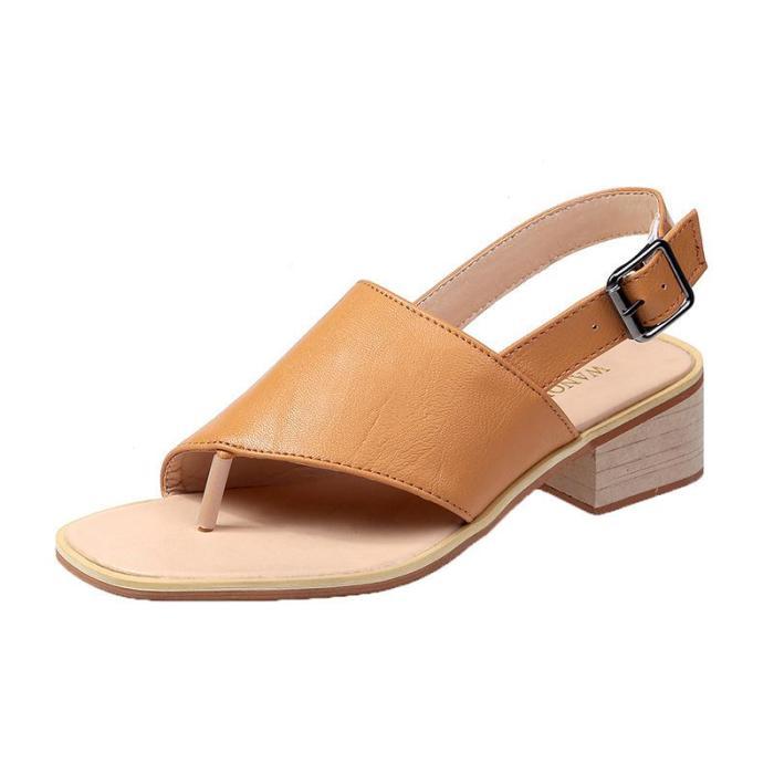 2020 Summer New Korean Round Head Leisure Buckle Flat Sole Big Size Women's Sandals