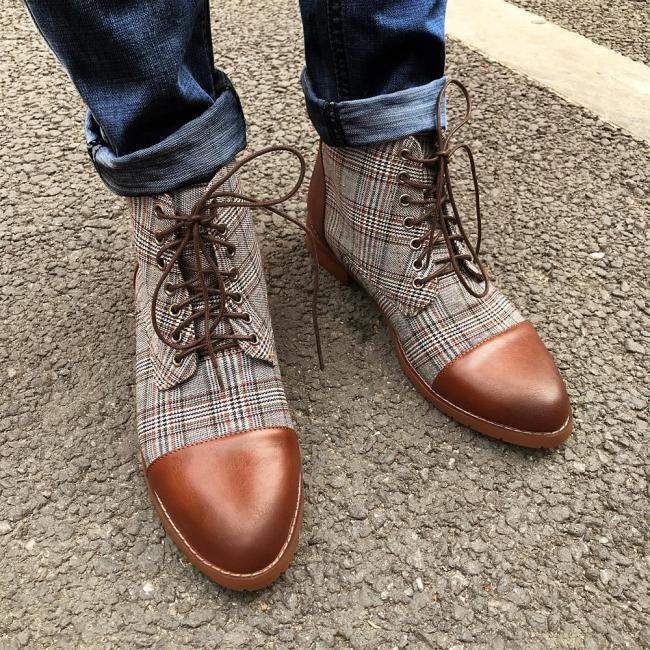 British Plaid Casual Martin Men Boots