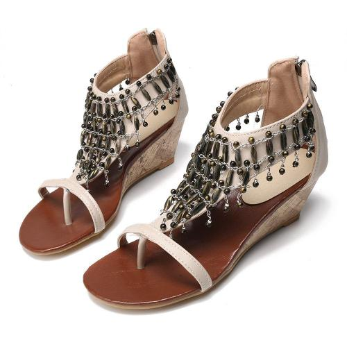 Large Size Bohemia Metal Clip Toe Wedges Casual Sandals