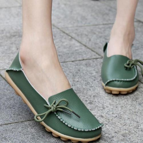 Women's PU Flat Non-slip Bow-trim Flat Shoes