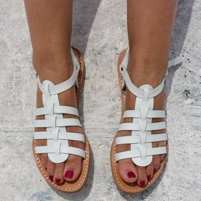Women's PU Round Toe Rome Style Beach Adjustable Buckle Flat Sandals