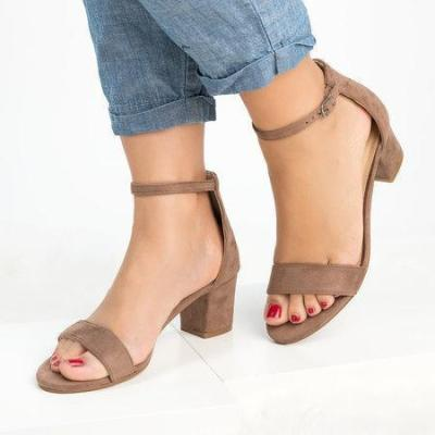 Large Size Women Pumps Ankle Strap Chunky Heel Sandals