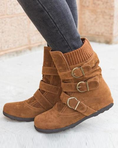 Triple Buckled Mid-Calf Boots