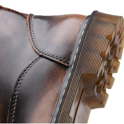 Male retro large leather worksuit Martin boots