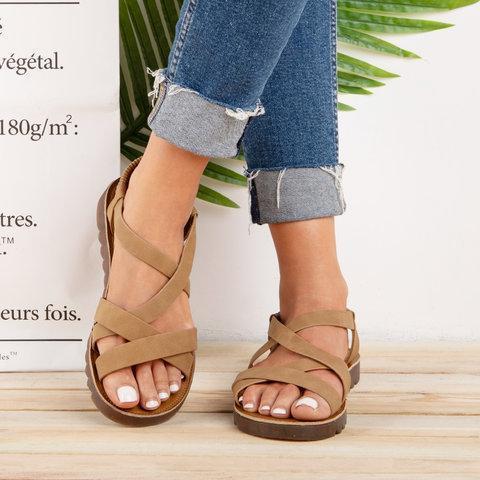 Ankle Strap Sandals Pu Elastic Band Sandals