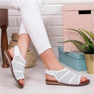 Women Flat Sandals Hollow out Ladies Hook Loop PU Leather Flat Shoes Woman Peep Toe