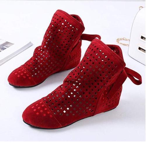 Women's Summer Boots Flat Low Hidden Wedges