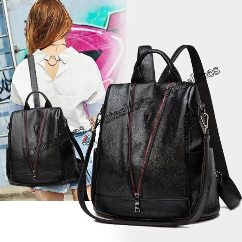 Double shoulder bag women's new soft leather travel bag color zipper fashion casual backpack women
