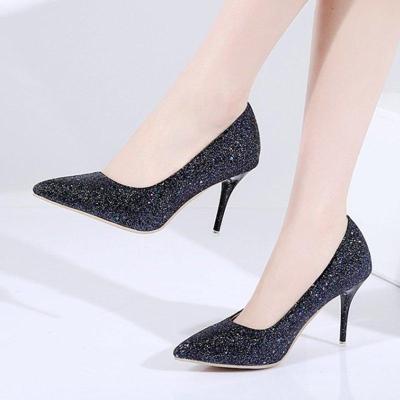 Glitter Block Heel Sequin Elegant Heels