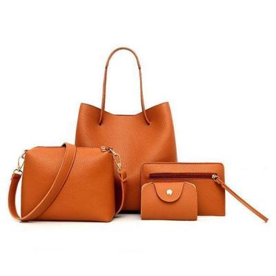 4 PCS PU Leather Tote Bag Crossbody Bag