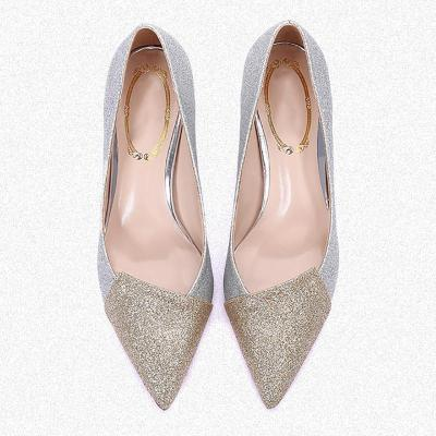 Women Sparkling Glitter Color Block Wedding Party Heels