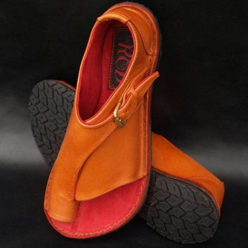 Womens Casual Sandals Leather Vintage Comfort Retro Buckle-Strap Flats Slip on