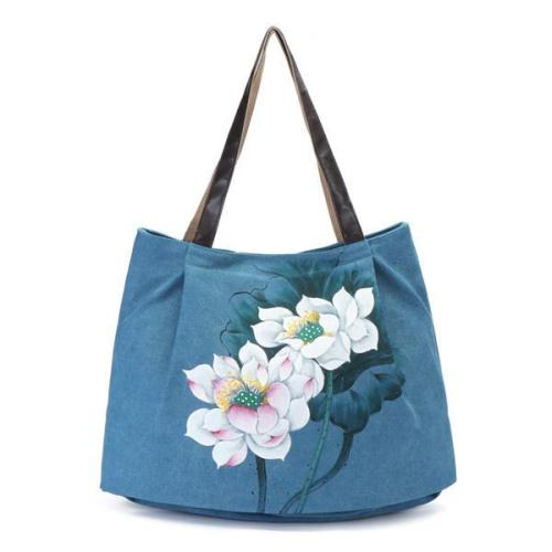 Hand Painted Flower Handbag Vintage Chinese Style Shopping Bag