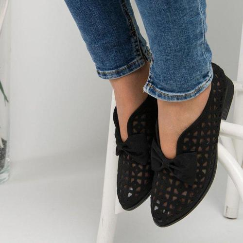 Faux Leather Hollow Chunky Heel Loafers