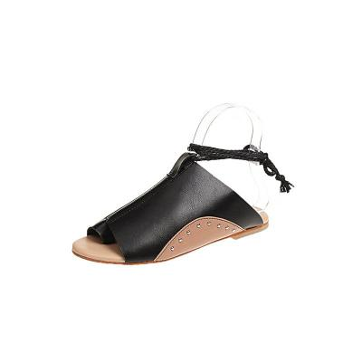New European and American Large Flat Sole Solid Round Head Women's Sandals In Summer