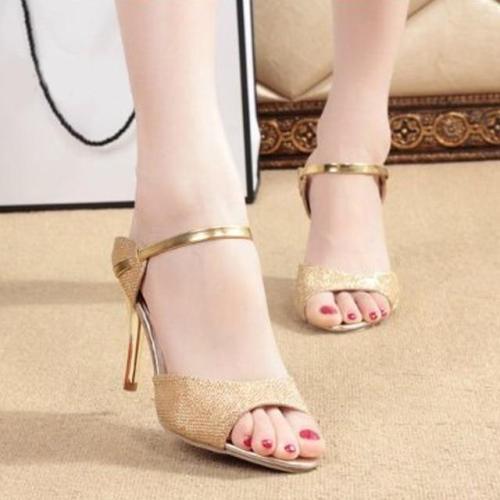 Summer Women Peep Toe Pumps Thin High Heel Sandals Silver Bling Stiletto Shoes