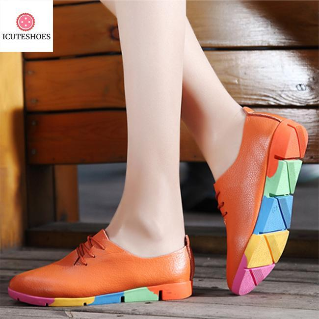 leather flats shoes woman sneakers tenis feminino nurse peas flats