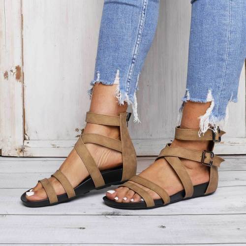 Pu Summer Zipper Sandals