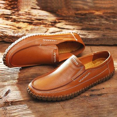 Large Size Men Hand Stitching Comfy Soft Sole Slip On Leather Loafers