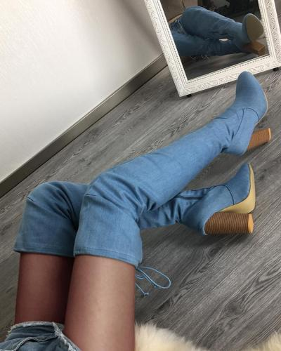 Knee-High Side Zipper Chunky Heeled Boots
