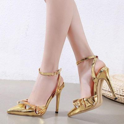 Golden Date Stiletto Heel Buckle Elegant Pumps