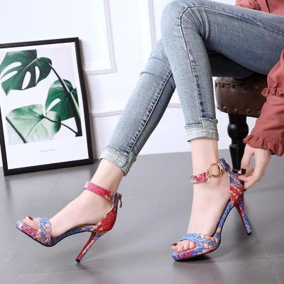 Color Block Weaving Spring/Summer High Heel Shoes
