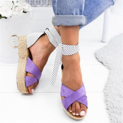 Polka Dot Lace-Up Ankle Strap Interlace Platform Sandals