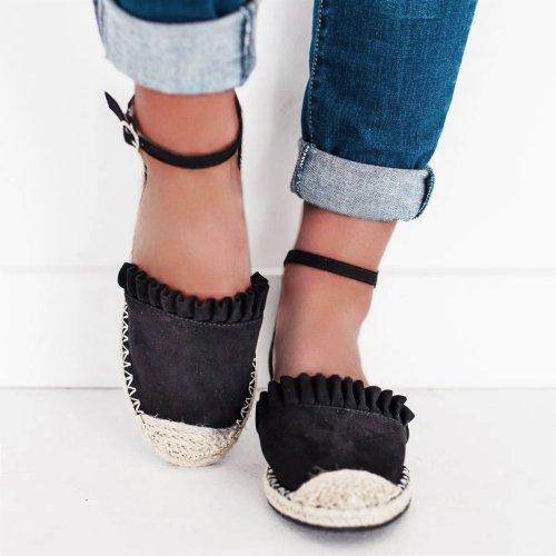 Women's Linen Round Toe Espadrille Flat Sandals