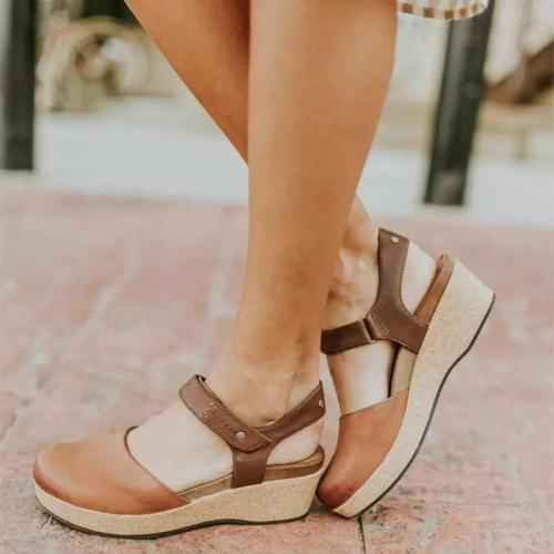 Women's PU Round Toe Buckle High Wedge Sandals