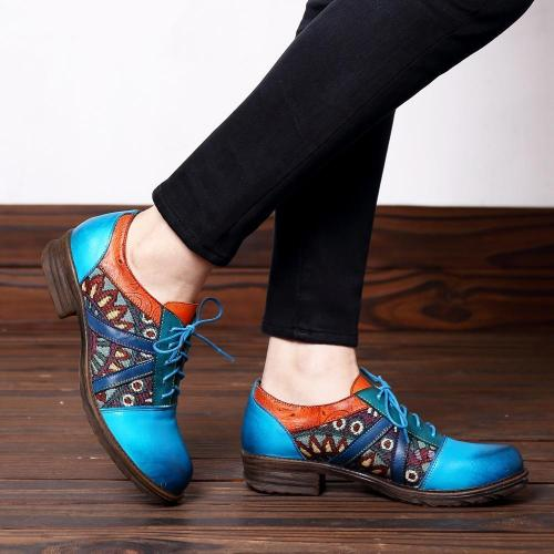Blue Broque Pattern Lace-Up Low Chunky Shoes