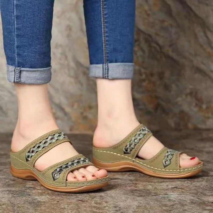 Wedge Sandals Gladiator Bohemia Flip Flop Casual Platform Wedge Slides Open Toe