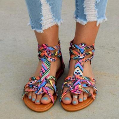 Summer Flat Bohemia Folk Plus Size Women Sandals