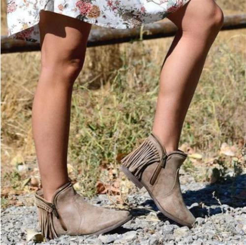 Women's Side Zip Tassel Ankle Boots