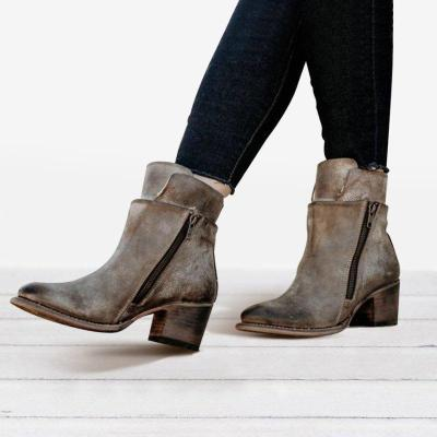 Women Vintage Ankle Boots Low Heel Zipper Motorcycle Boots