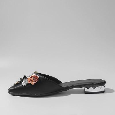 Women's Fashion Casual Solid Color Flower Rhinestone Flat Shoes
