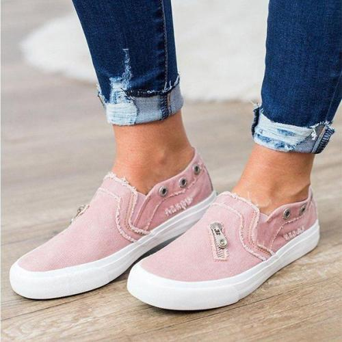 Casual Solid Color Zipper Decoration Canvas Loafers sneakers