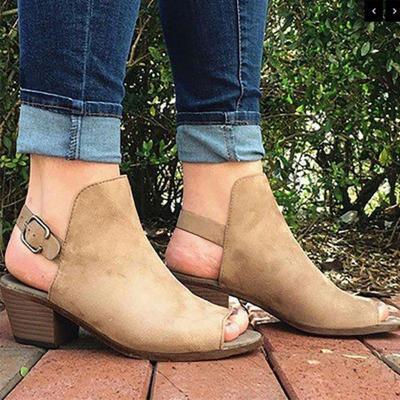 Peep-toe Flocking Chunky Heels Bucjle Strap Sandals