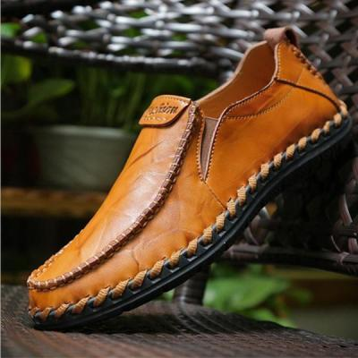 Mens Hand Stitching Non-slip Casual Slip-on Flat Shoes