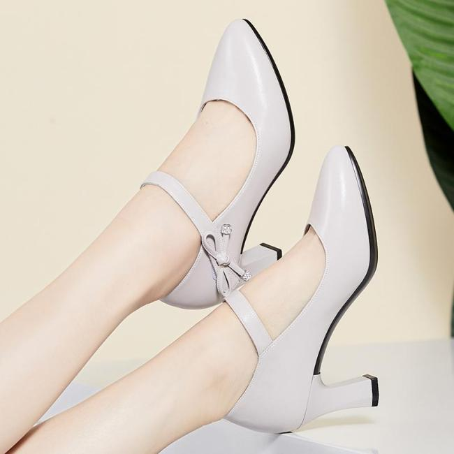 Summer Chunky Heel Pointed Toe Shoes