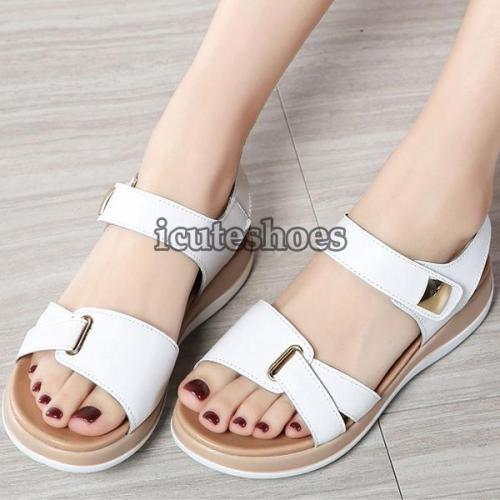 Genuine Leather Shoes Sandals Flats Soft Hook Loop
