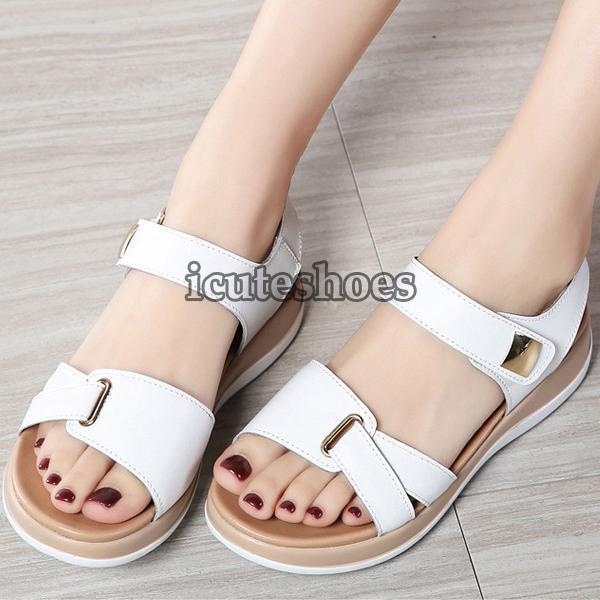 Genuine Leather Shoes Sandals Flats Soft Hook Loop