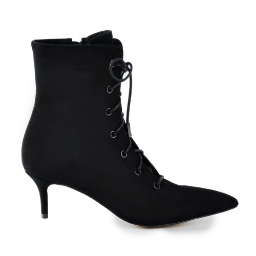 Kitten Low Heel Pointed Toe Lace Up Ankle Boots