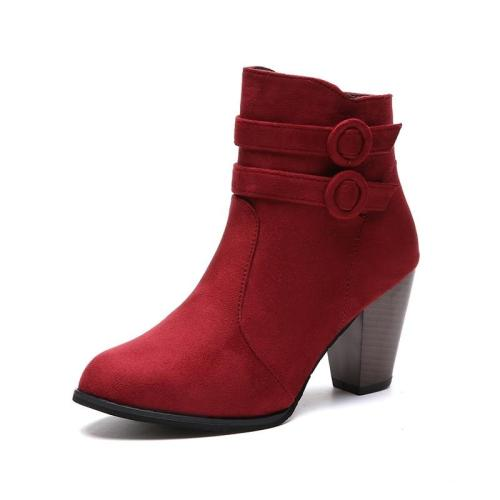 Classic Zipper Snow Ankle Flock High Heel Shoes
