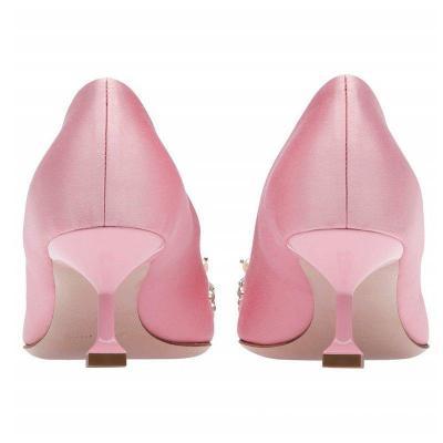 Imitation Pearls Pointed Toe Satin Wedding Shoes