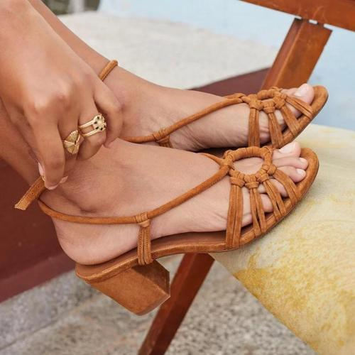 Women Summer Peep Toe Hollow Medium Heels Sandals