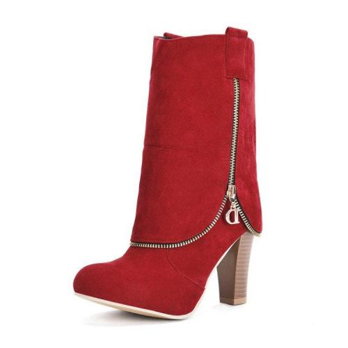 Women Faux Suede Slip On Mid Calf Boots Casual Zipper Boots